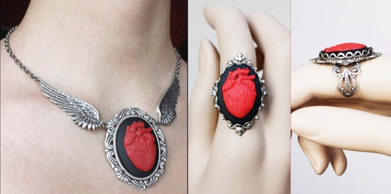 Set of Anatomical Heart Tattoo wings gothic necklace and adjustable ring