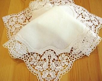 Bridal Accessories: Wedding Handkerchief, Cream Color German Plauen Lace Handkerchief Style No. 40737 with Classic 3-Initial Monogram
