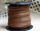 2 Yards 3mm Cord Deertan Leather 1/8-inch Soft Saddle Brown Lace