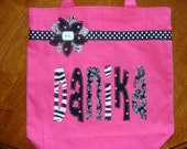 Kids Personalized School Tote with Ribbon & Flower Applique - book bag girl tote name custom birthday gift idea flower girl wedding purse