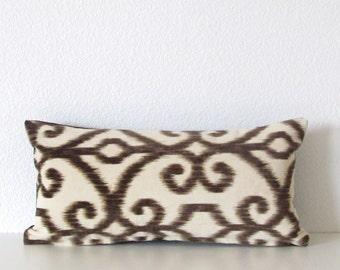 Top Kapi Ikat Microfiber Fawn - cream dark brown mini lumbar pillow cover