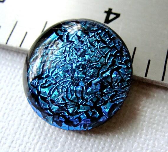 Dichroic Glass Cabochon 20 mm Round Powder Blue Sparkler