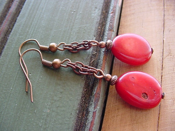 Heidi  //  Red Coral with Anitque Copper Finish Chain Dangle Earrings