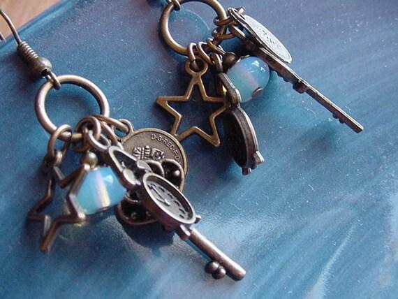 Trinkets //  Steampunk Inspired Antique Brass / Opalite Earrings