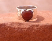Silver and Gold Carnelian Heart Ring