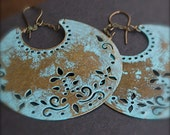 Chandelier Earrings- Bohemian-Hand Distressed Patina Verdigris Antique Brass Earrings - thestellabluegallery
