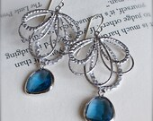 Chandelier Earrings-Elegant Sterling Silver Earrings with Sapphire Blue Glass-Dangling Earrings-Bridesmaid-Spring Fashion