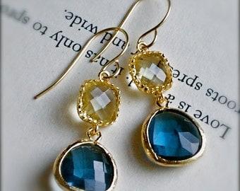 Dangle Earrings-Blue Topaz and  Citrine Encased Glass-December Birthstone-Bridesmaid Jewelry
