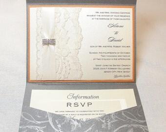 Lace Wedding Invitations, Lace Wedding Invite, Wedding Invitations, Wedding Invite, Floral Invite, Vintage Invitation DESIREE - GREY