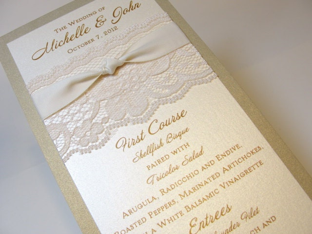 Lace Wedding Menu Card Reception Menus Tower