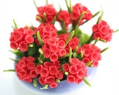 Miniature Polymer Clay Flowers Supplies Red Geranium 3 bunches