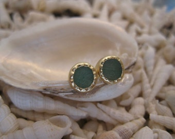 14K Gold  Green Mint Aventurine Post Earrings