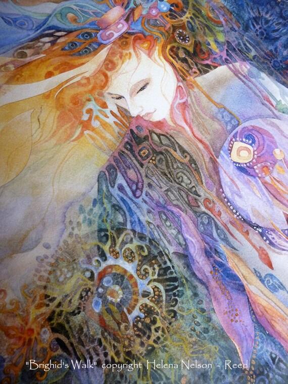 Celtic Goddess,  Saint Brighid Walking the Land signed art print