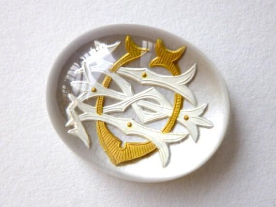 SALE Victorian Reverse Intaglio Crystal Cabochon Monogrammed