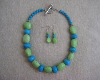 Turquoise Necklace and earring set of blue and lime color beads
