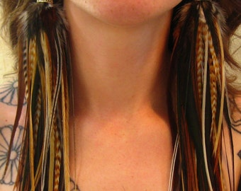 Dark Natural Warrior Princess Long Feather Earrings