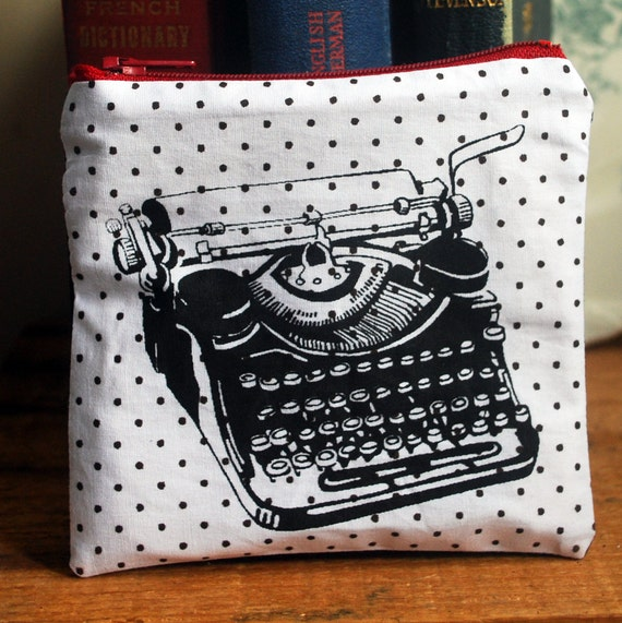 Small Polka Dot  Pouch with Original Screen Prints: Typewriter, Nest or Wren