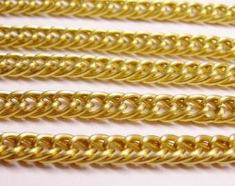 Gold mat chain  - lead free nickel free won't tarnish - 1 meter-3.3 feet made from aluminum