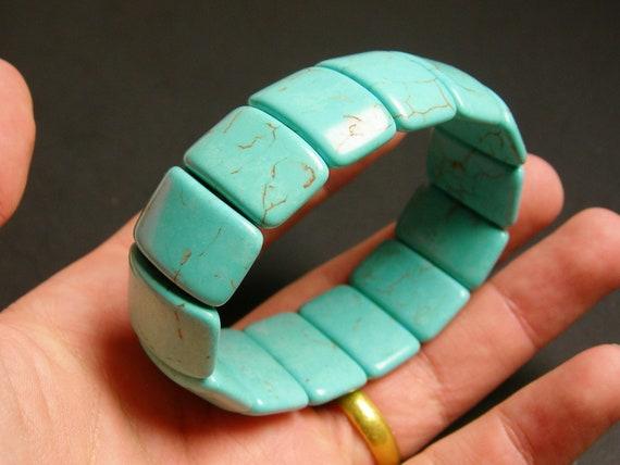 Howlite turquoise - 14 pcs double holed beads