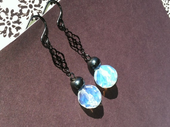 Moonstone and Hematite Filigree Earrings