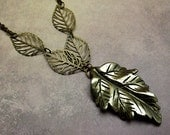 "Pyrite Leaf Necklace ""Fools Gold"" with Antiqued Brass Chain Olive Green Taupe"