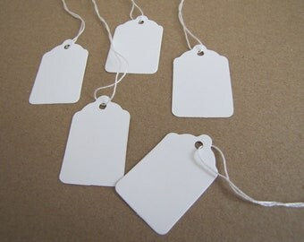 White Tags-Merchandise Tags-Set of 25- 1.5 x 1 inches