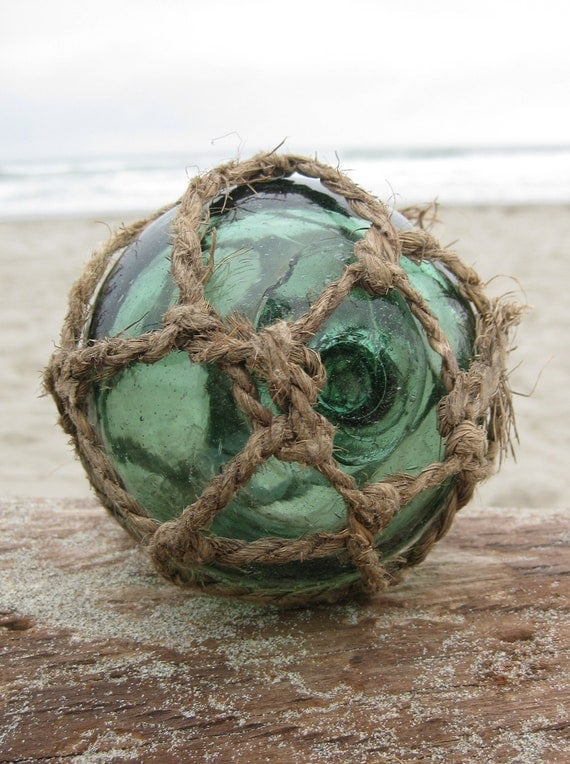Japanese Glass Fishing Float - Very Old Original Net, Softball Size, Green