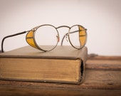 Vintage Steampunk Safety Glasses w/Orange Shields