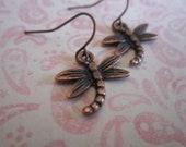 Copper Dangle Dragonflies Earrings