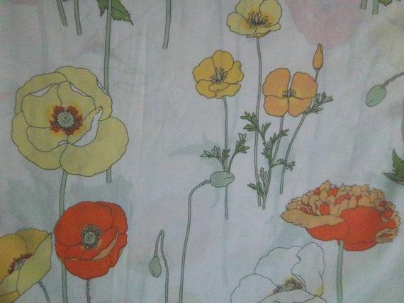 Vintage Bed Sheet Fat Quarter Icelandic Poppies