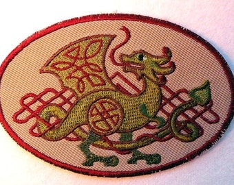 Celtic Dragon with Knotwork iron on patch