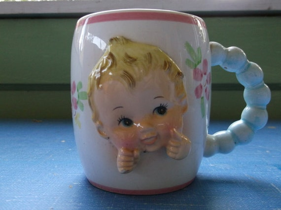 SALE Vintage 1961 Inarco Ceramic Baby Cup ceramic with Adorable Baby Face