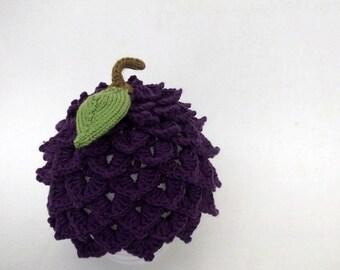 Blackberry Hat -Crocheted   Hat-Baby Girl Hat-Baby BlackBerry Hat-Crocodile Stitch Hat