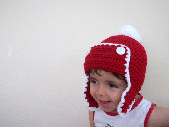 Crochet  Baby Hat in Red and White-Christmas Baby Hat,Photo Prop - for Baby or Toddler-aviator hat-Baby Girl or BoyHat