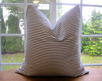 Pillow, Decorative Throw Pillow Cover, Black Woven Cotton Ticking Stripe Pillow Cover 18 x 18, 20 x 20, 22 x 22, 24 x 24