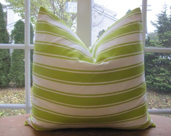 Pillow, Decorative Throw Pillow Cover, Designer Lime and Off White Stripe Pillow Cover 18 x 18, 20 x 20, 22 x 22, 24 x 24