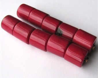 Five Fuschia Pink Tagua Nut Beads, 14mm Cylinder Beads, EcoBeads, Natural Beads, Organic Beads, Vegetable Ivory Beads