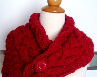 Chunky Cowl Scarf Neck Warmer Handknit Cranberry Red Cabled in Alpaca and Merino