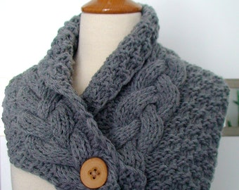 Cowl Neck Warmer Scarf Grey Handknit Cabled Warm and Soft SALE