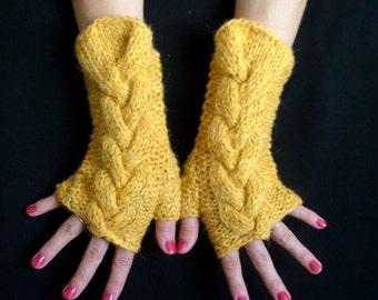 Fingerless Gloves Cabled Mustard / Yellow Wrist Warmers Warm and Soft Large Size