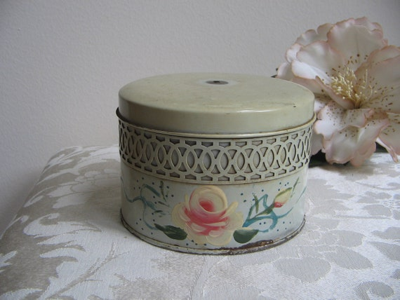 Vintage Cream Tin Shabby Lattice Hand Painted Flower by Wolff Products Company, Round Metal USA