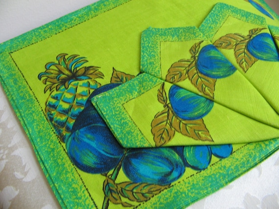 Vintage Linen Placemats Napkins Unused Set of Four Czechoslovakia, Emerald Green Lime Green Teal Blue Fruit