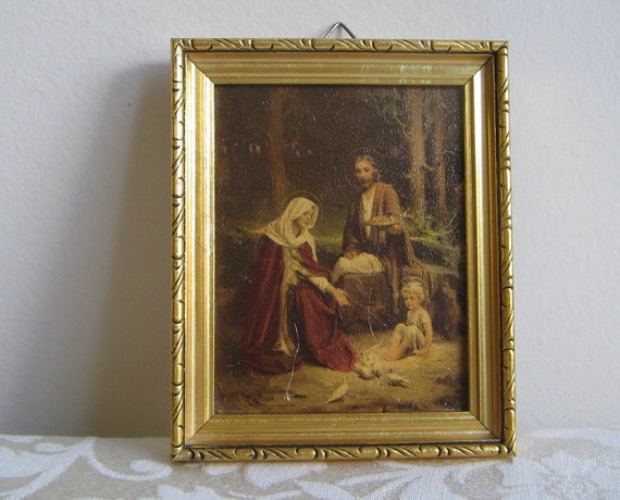 "Vintage Religious ""Holy Family"" Wall Art Print by C. Bosseron Chambers, Jesus Mary Joseph, Gold Wood Frame, Edward Gross Co."