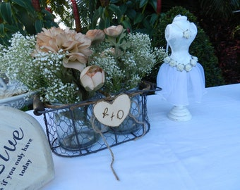 Rustic Glass Jar Table Decor in Wire Basket, Centerpiece