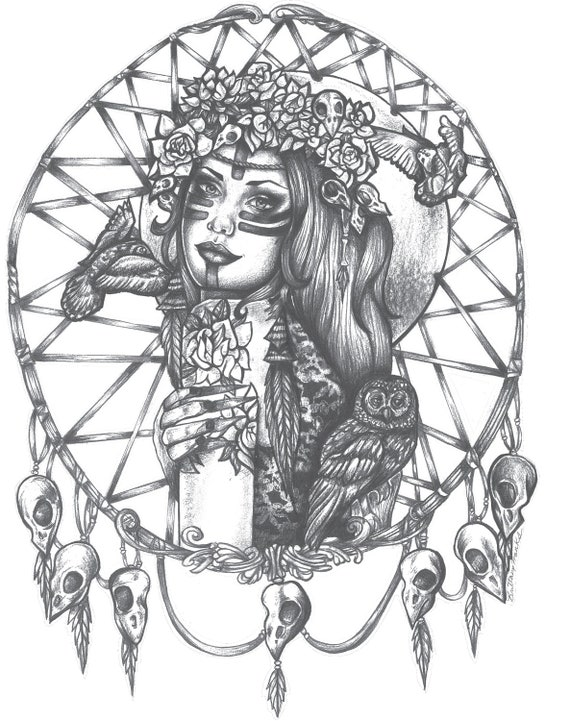 Native American Indian Girl In Skull Dreamcatcher Print Bird