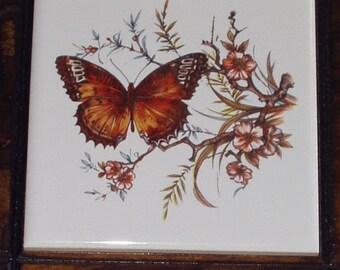 Vintage Ceramic Tile Trivet Wall Hanging Plaque 70s Butterfly Art Plaque Jerry Schultz USA Retro Shabby Chic Cottage Decor
