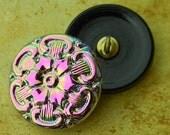 Czech Glass Button Tudor Rose Pink Shank Buttons