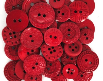 Jesse James Buttons Embellishments Color Me Red Button Mixed Assortment Reds