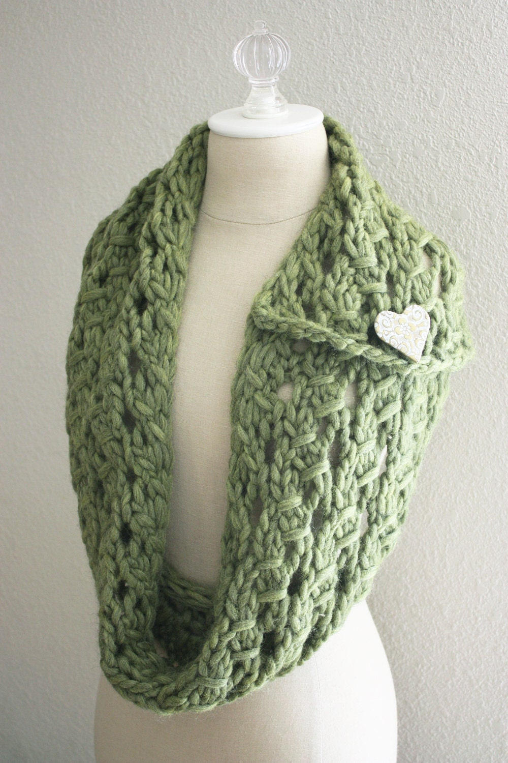 Knitting Pattern / Cowl Scarf Chunky Lace / Margeaux / PDF