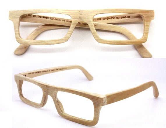handmade  square  bamboo  eyeglasses  sunglasses 1201 c01 with prescription lenses